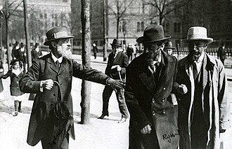 Mensheviks - Leaders of the Menshevik Party at Norra Bantorget in Stockholm, Sweden, May 1917 (Pavel Axelrod, Julius Martov and Alexander Martinov)