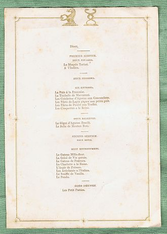 Banquet - An English menu card for the household of Col. Bisse-Challoner, c. 1838-1860.