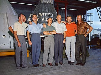 Mercury Seven - (L to R) Cooper, Schirra (partially obscured), Shepard, Grissom, Glenn, Slayton, and Carpenter