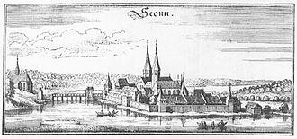 """Seeon Abbey - Engraving from """"Topographia Germaniae des Matthaeus Merian"""", about 1644"""