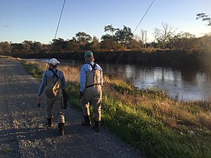 Mersey River (Tasmania) - Anglers along the Mersey