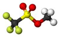 Ball-and-stick model of methyl triflate