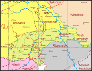 Meuse-Rhenish - Meuse-Rhenish dialects (Low Franconian in yellow)