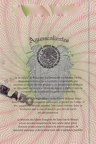 Mexican passport - The message page in the Mexican passport.