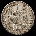 Mexico Carlos III Pillar Dollar of 8 Reales 1771 (obv).jpg