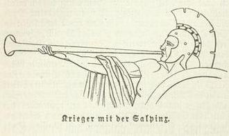 Salpinx - Greek warrior blowing a salpinx