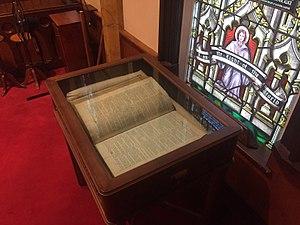Michael Francklin - Michael Francklin's Bible, St. John's Anglican Church (Lunenburg), Nova Scotia (1765)