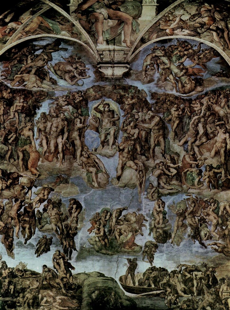 O Xuízo Final de Michelangelo antes da restauración.