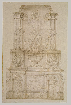 Tomb of Pope Julius II - Image: Michelangelo First design for wall tomb for Julius II