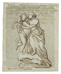 Design for a statue of Venus embracing Cupid