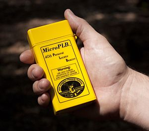 Emergency position-indicating radiobeacon station - Miniature Personal Locator Beacon   by Microwave Monolithics Incorporated   (image courtesy of NASA)