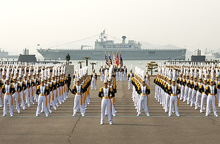 Midshipmen stand in formation at the ROK Naval Academy graduation ceremony. Midshipmen at the ROK Naval Academy graduation..jpg