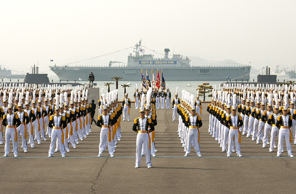 Midshipmen at the ROK Naval Academy graduation.