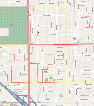 Midway City, California - The four sections that make up unincorporated Midway City.