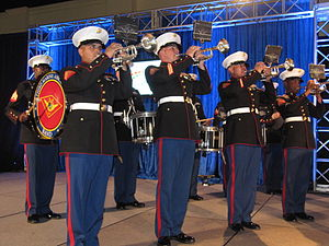Stock footage - The 3rd Marine Aircraft Wing Band, USMC, performs in San Diego, 2011: still shot from stock footage clip.