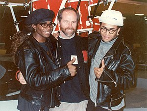 Milli Vanilli discography - Fab Morvan (left) and Rob Pilatus (right) pose with Grammy president C. Michael Greene at the 1990 Grammy Awards rehearsal in February, 1990