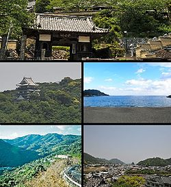 Top:Yakuo Temple in Okukawachi, 2nd left:Hiwasa Castle, 2nd right:Ohama Beach, Bottom left:Panorama vies of Mount Myojin, from Izari area, Bottom right:Panorama view of Hiwasa area, from Yakuo Temple