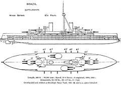 Minas Gerais class battleship diagrams Brasseys 1923