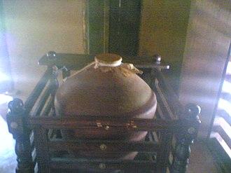 Koodiyattam - Mizhavu kept in mizhavana (wooden box made especially to keep mizhavu).