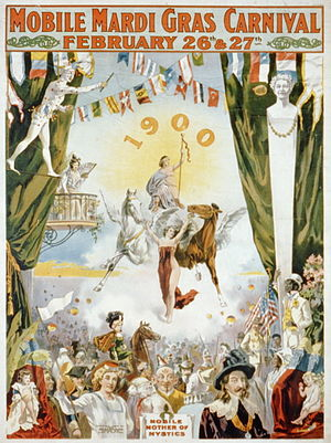 Mystic society - Mobile Carnival poster from 1900.