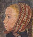 Modersohn-Becker - Mädchenkopf mit gestreifter Mütze im Profil nach links.jpeg