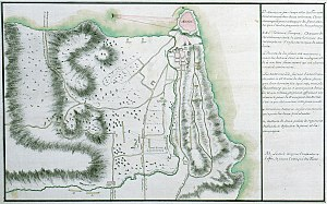 Methoni, Messenia - Topographic map of the castle and its environs, showing the Russian attack on the fortress in 1770