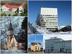 Clockwise, from top: Kemi Railway Station, Kemi City Hall, Karihaara School, Café at the inner harbour, Kemi Church.