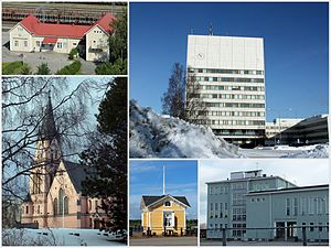Kemi - Clockwise, from top: Kemi Railway Station, Kemi City Hall, Karihaara School, Café at the inner harbour, Kemi Church.