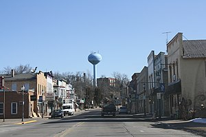 Montello, Wisconsin - Looking east at downtown Montello's Commercial Historic District