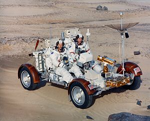 Lunar Roving Vehicle - Apollo 16 astronauts in the Earth trainer