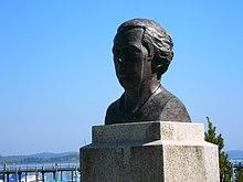Büste Franz Anton Mesmer hergestellt im Jahr 2013 durch den Bildhauer Friedhelm Zilly in der Uferanlage beim Hafen in Moos (am Bodensee) Ortsteil Iznang. Profil. (Quelle: Wikimedia)