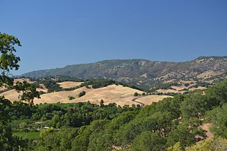 Vaca Mountains - Mt. Vaca and the Blue Ridge, high points of Solano County, as seen from upper Suisun Valley.