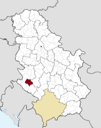 Location of the municipality of Nova Varoš within Serbia