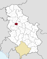 Location of the municipality of Obrenovac within Serbia