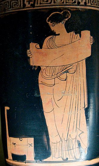 Muses - Muse, perhaps Clio, reading a scroll (Attic red-figure lekythos, Boeotia, c. 430 BC)
