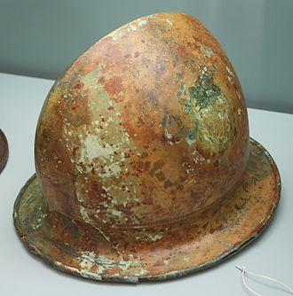 Negau helmet - A Negau helmet excavated at Hallstatt Archaeological Site in Vače, near Vače, Slovenia. Kept by Museum of Prehistory and Early History (Berlin)