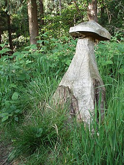 Mushroom carved from tree stump - geograph.org.uk - 443597