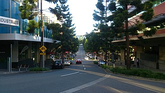 Kelvin Grove Urban Village - Musk Avenue, viewed from the intersection with Robinson Place.