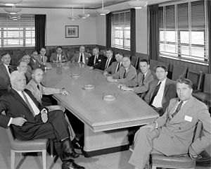 Guyford Stever - NACA's Special Committee on Space Technology in their May 26, 1958 meeting. At the head of the table: Wernher von Braun. Dr. Stever is third to his right. Hendrik Wade Bode is fourth from the left.