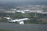 NASA Gulfstream Jets fly over the San Jacinto Monument.jpg