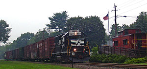 Wallkill Valley Railroad - Norfolk Southern freight near southern end of the former Wallkill Valley Railroad in Campbell Hall, NY