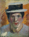 NakamuraTsune-1911-Self-Portrait with a Straw Hat.png