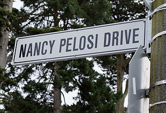 The city of San Francisco named a street in Golden Gate Park in honor of Pelosi after her many years representing the city in Congress. Nancy pelosi drive.JPG