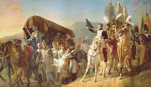 Battle of Ulm - Napoleon I saluting the wounded Austrians.