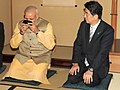 Narendra Modi and Shinzo Abe during a tea ceremony at Akasaka Palace.jpg
