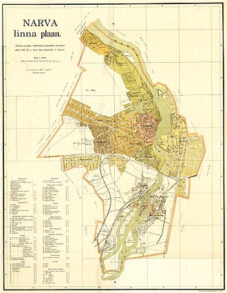 Narva - A 1929 plan of Narva (including Ivangorod, part of Narva at the time)