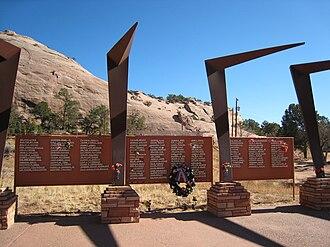 Window Rock, Arizona - Navajo Nation World War II Memorial located next to the Window Rock