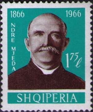 Ndre Mjeda - Ndre Mjeda on a 1966 Albanian stamp