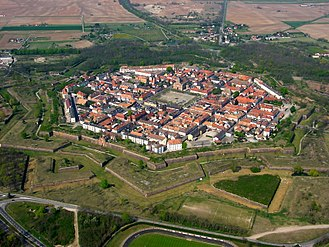 Bastion - Aerial photograph of Neuf-Brisach a fortress in use during the Napoleonic Wars.
