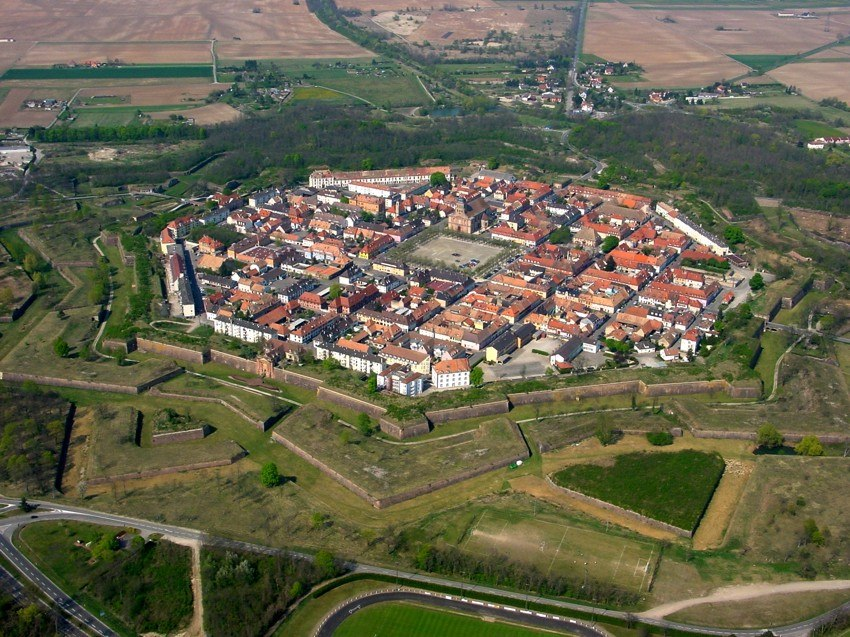 Aerial view of Neuf-Brisach (Alsace) with walls and fortifications built by Vauban after 1697